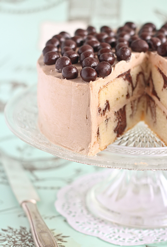 Mocha Marble Cake with Chocolate Covered Coffee Beans