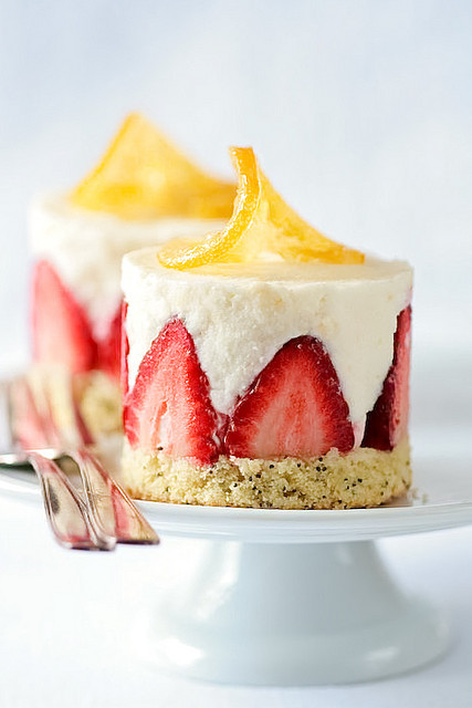 Lemon Poppy Seed Cake With Meyer Lemon Mousse by tartelette on Flickr.