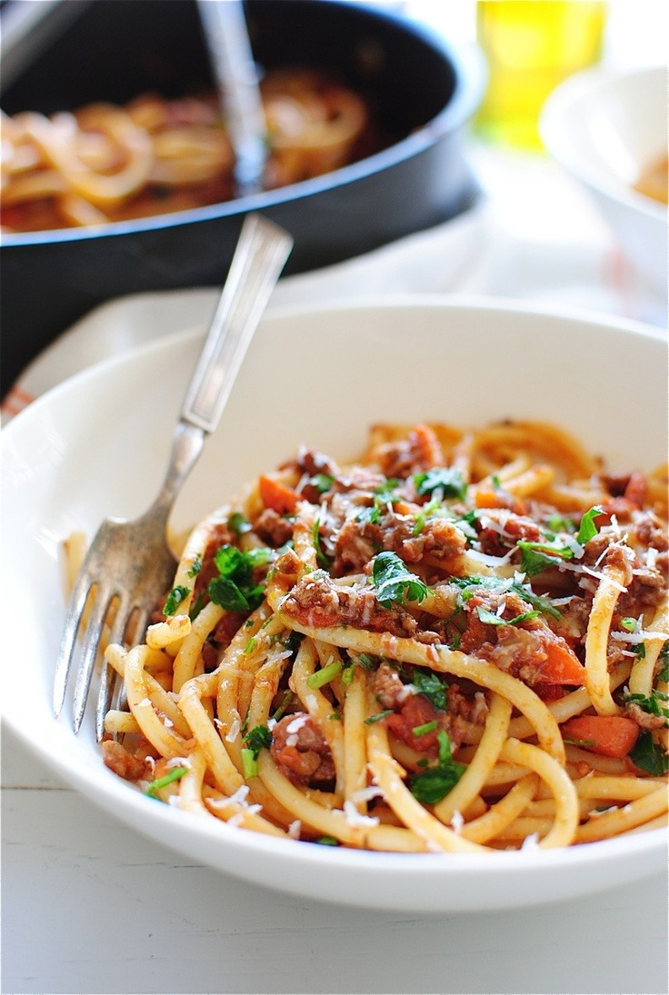 Bucatini with Homemade Ragu (via Pinterest)