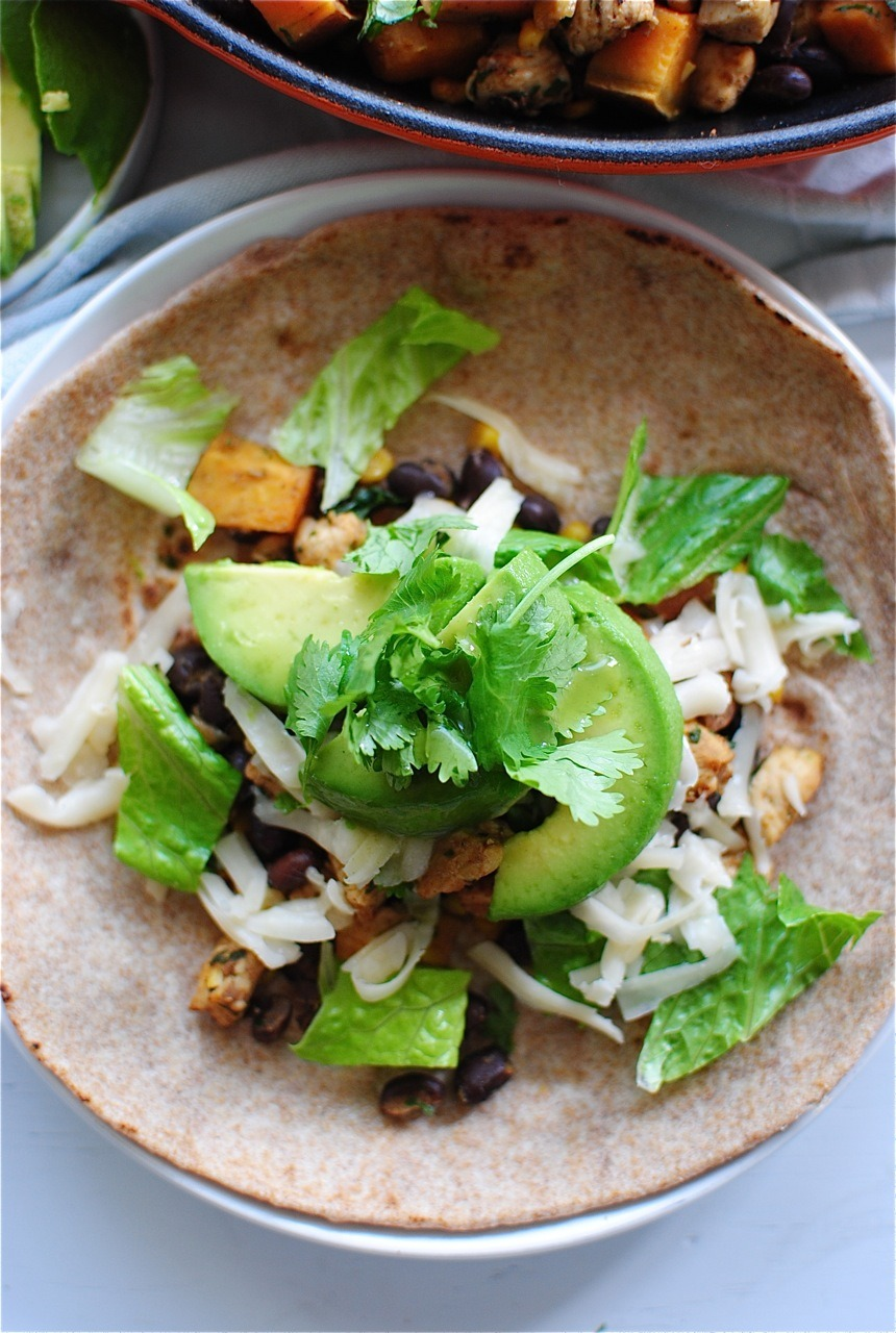 Chicken, Black Bean & Sweet Potato Tacos