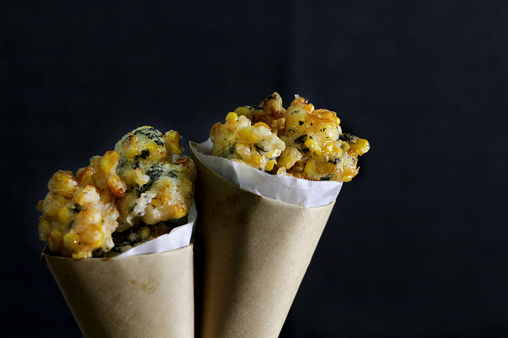 corn and seaweed tempura poppers