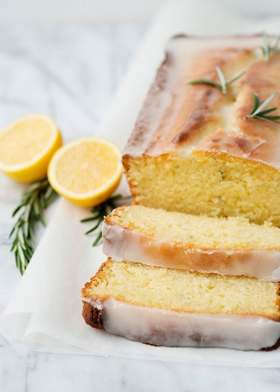 lemon rosemary yogurt cake by baked bree