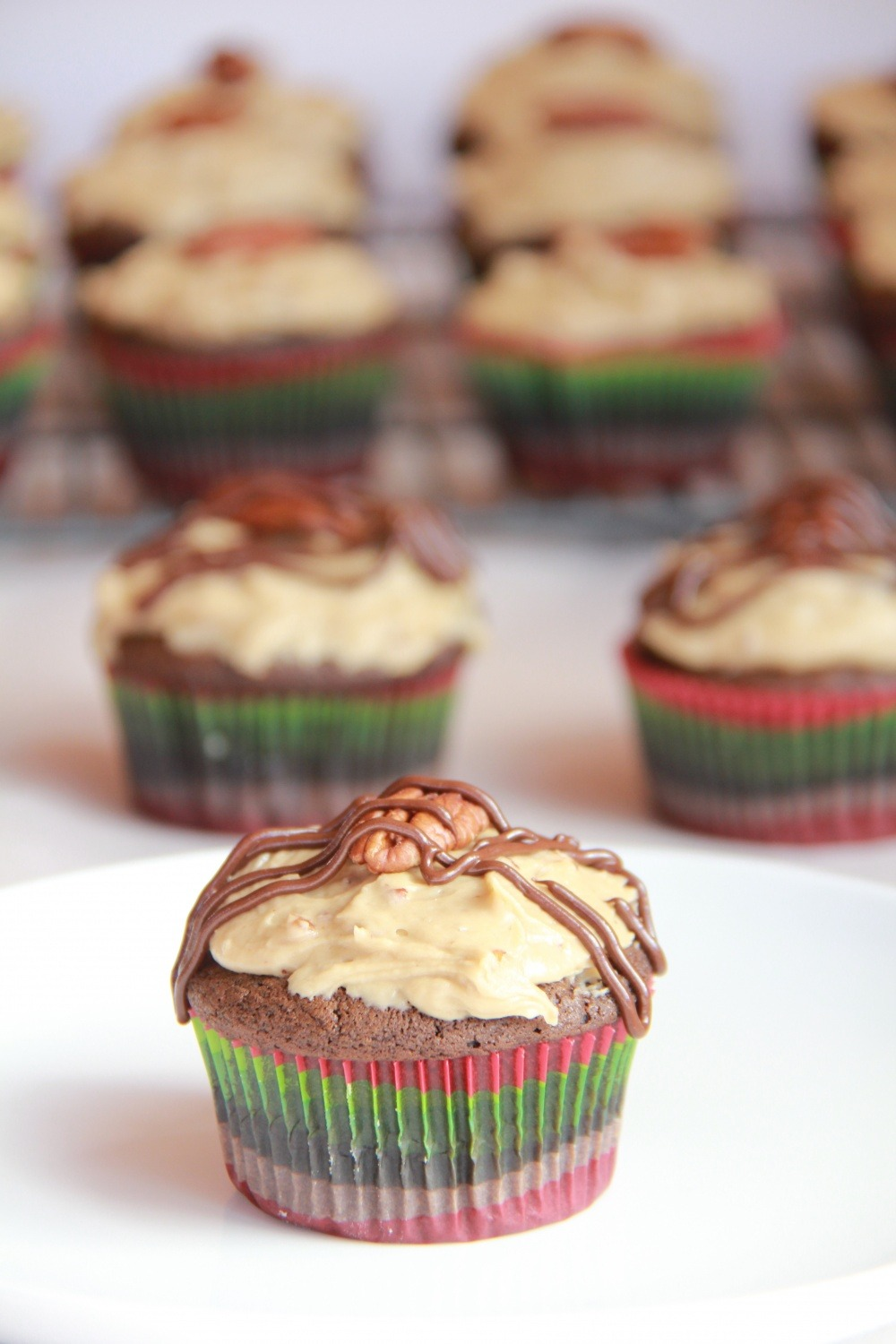 Recipe: Chocolate Bourbon Cupcakes with Butter Pecan Frosting