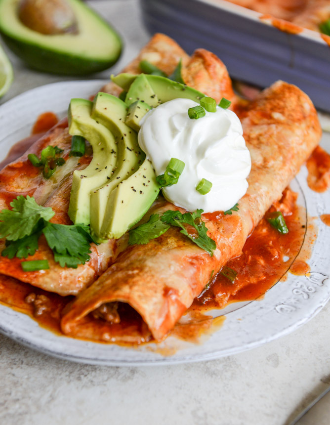 lightened up beef enchiladas with 10-minute enchilada sauce.
