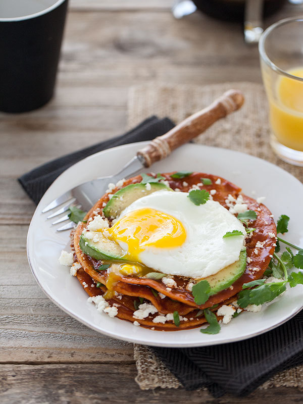 Stacked breakfast enchiladas with egg