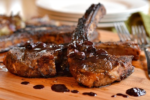 Coffee Rubbed Lamb Chops with Blueberry Balsamic Reduction