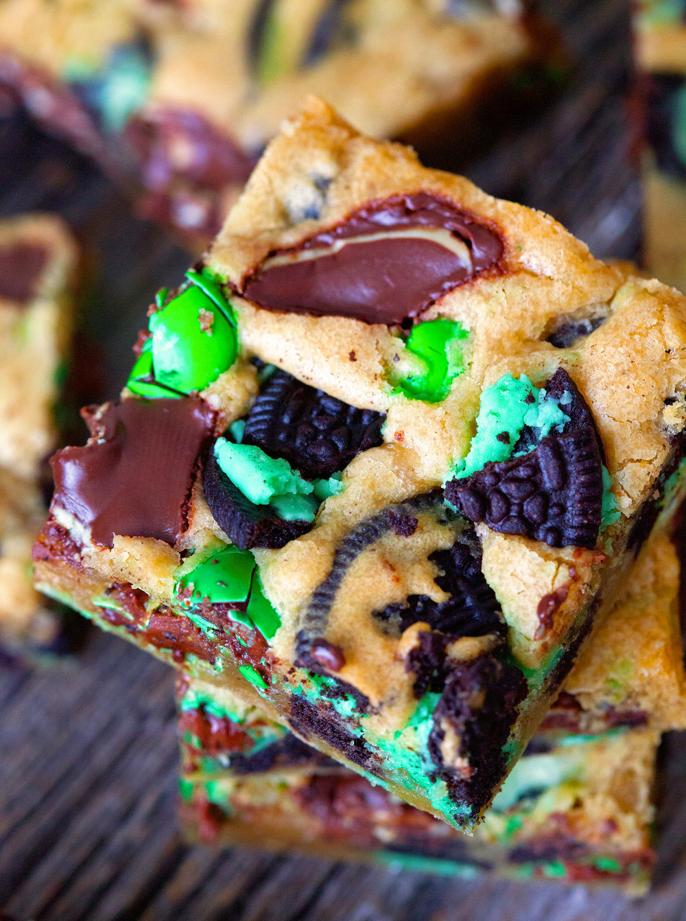 recipe for triple chocolate and mint blondies
