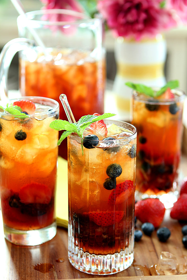 berry iced tea with honey mint syrup.
