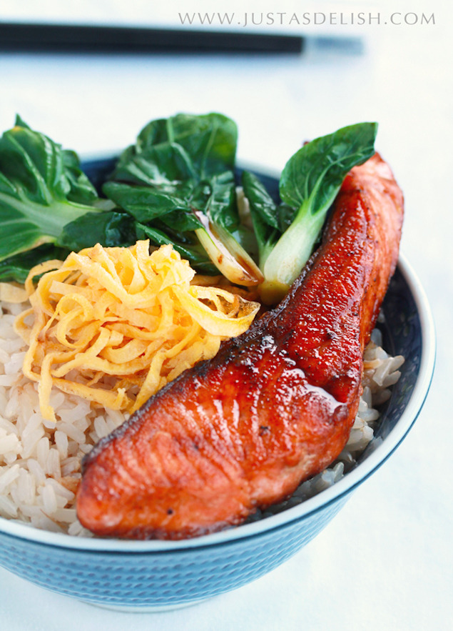 Teriyaki Salmon and Bok Choy Rice Bowl