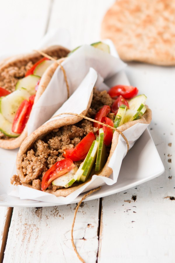 Hoisin Pork and Cucumber Pitas